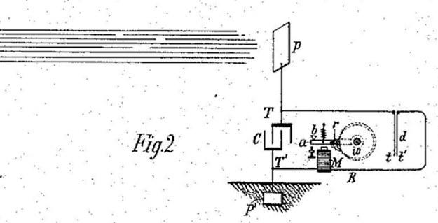 """Szkic z wniosku patentowego """"Aparatu do Wykorzystania Energii Promienistej"""" /"""