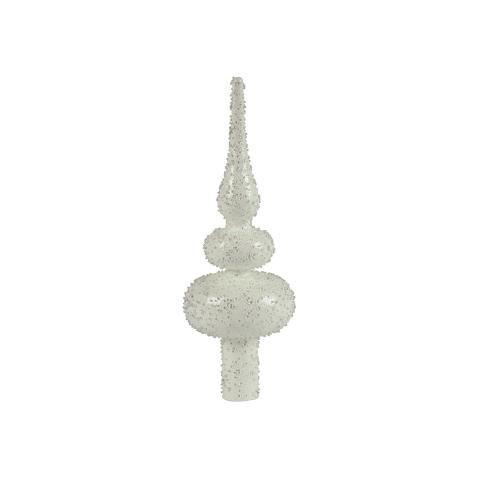 """Szklany biały czub z """"lodowymi"""" drobinkami, wys. 20 cm, Marks & Spencer, 69 zł. /Mat. Prasowe"""