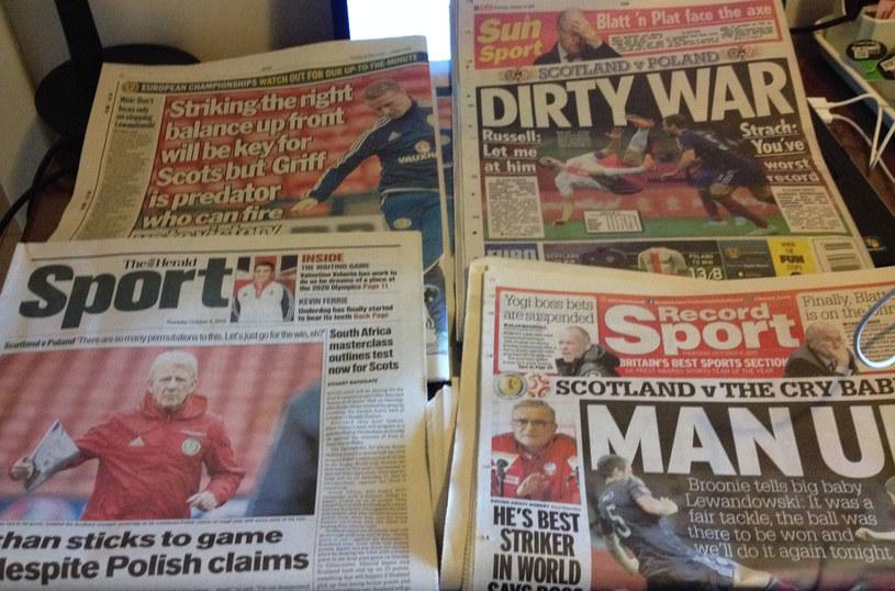Szkockie gazety przed meczem z Polską /INTERIA.PL