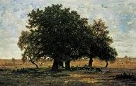 Szkoła z Barbizon: Théodore Rousseau, Dęby w Apremont, 1852 /Encyklopedia Internautica