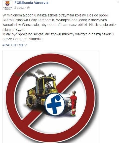 Szkółka FCB Escola Varsovia musi walczyć o swoją bazę /Internet