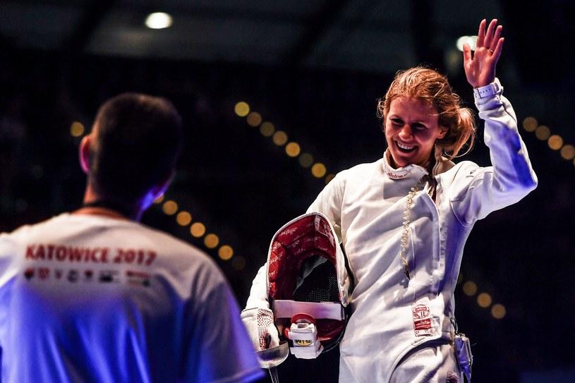 Szpadzistka Ewa Nelip podczas mistrzostw świata w Lipsku /PAP/EPA
