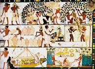 Sztuka starożytnego Egiptu: dekoracja ściany w bezimiennym grobowcu z Teb /Encyklopedia Internautica