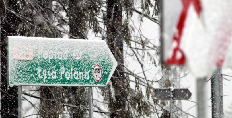 Tablica informacyjna pokryta śniegiem w Głodówce pod Zakopanem, gdzie spadł dzisiaj pierwszy tej jesieni śnieg /PAP