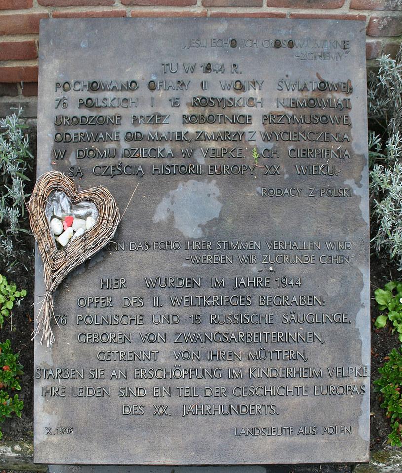 Tablica na cmentarzu w Velpke poświecona zamordowanym polskim i rosyjskim niemowlętom, źrodło: By Roll-Stone (Self-photographed) [Public domain], via Wikimedia Commons /