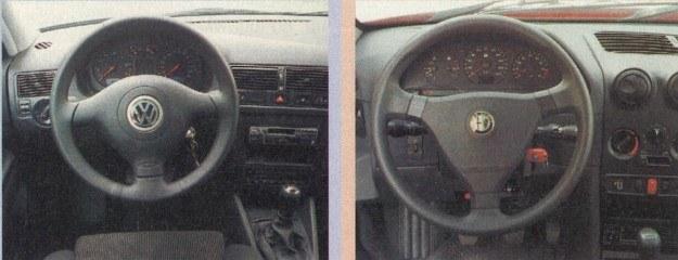 Tablice rozdzielcze w obu autach eleganckie i ergonomiczne. Golf na ilustracji wyposażony jest w wiele dodatków, oferowanych tylko za dopłatą. /Motor