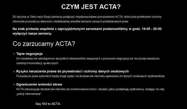 Tak będzie wyglądać plansza, do której prowadzić będą linki umieszczone w protestujących serwisach /INTERIA.PL