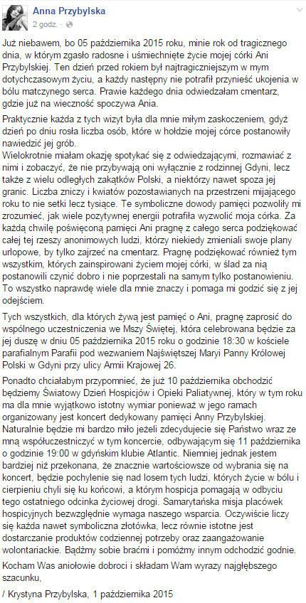 Tak brzmiała treść wspomnianego wpisu na profilu Anny Przybylskiej /Facebook