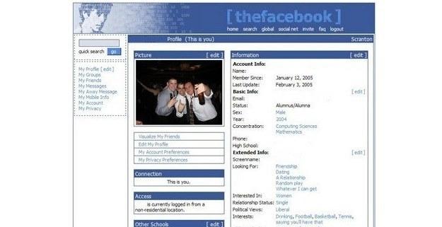 Tak Facebook wyglądał 10 lat temu - źródło: www.theultralinx.com /Internet