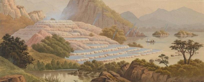 Tak kiedyś mogły wyglądać białe i różowe tarasy Nowej Zelandii /materiały prasowe