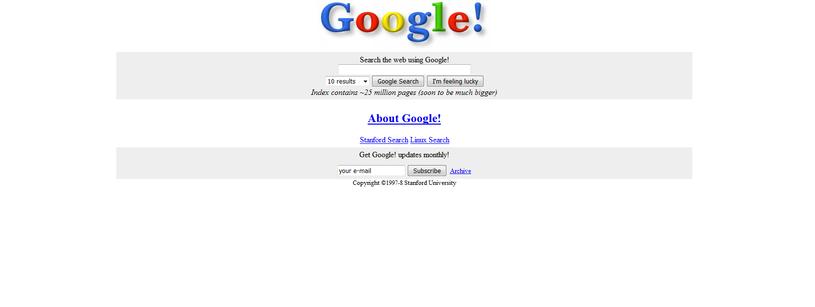 Tak w 1998 roku wyglądało Google. Fot. WebArchive /Internet