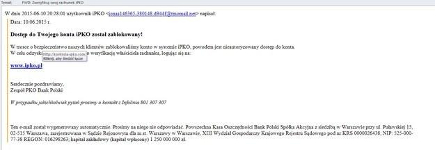 Tak wygląda przykładowy fałszywy mail. /materiały prasowe