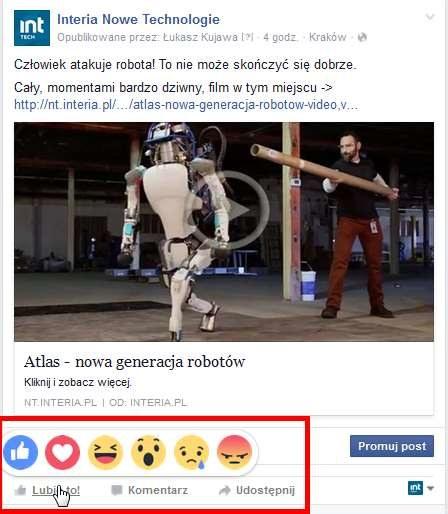 Tak wyglądają Reakcje na Facebooku na przykładzie profilu NT Interia /INTERIA.PL