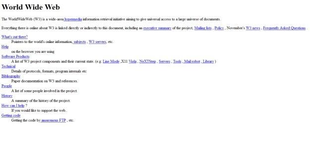 Tak wyglądała pierwsza strona WWW - stworzona 30 kwietnia 1993 roku /materiały prasowe