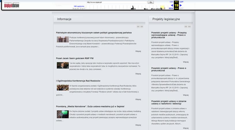 Tak wyglądała strona KP PiS w październiku zeszłego roku /Internet