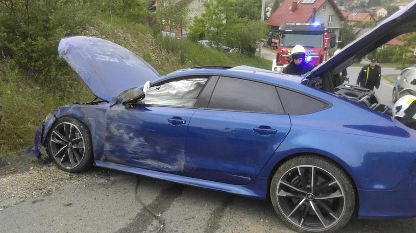 Tak wyglądało auto zaraz po wypadku / Fot. KSRG OSP Czerna /