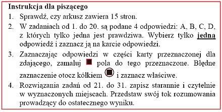 Taką instrukcję znajdziesz na pierwszej stronie każdego arkusza maturalnego /oke.krakow.pl