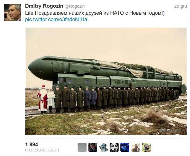 Taki wpis zamieścił wicepremier Rosji na Twitterze. /Twitter