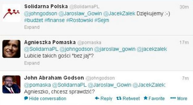 """Tako rzekła Pomaska o Godsonie i Gowinie: """"bez jaj"""". /Twitter /"""