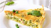 Tarta z zielonym groszkiem i boczkiem