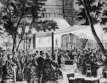 """Teatr ogródkowy """"Tivoli"""" w Warszawie, ryt Andrzeja Zajkowskiego wg rysunku Henryka Pillatiego, """"Kłosy"""", 1871 r. /Encyklopedia Internautica"""