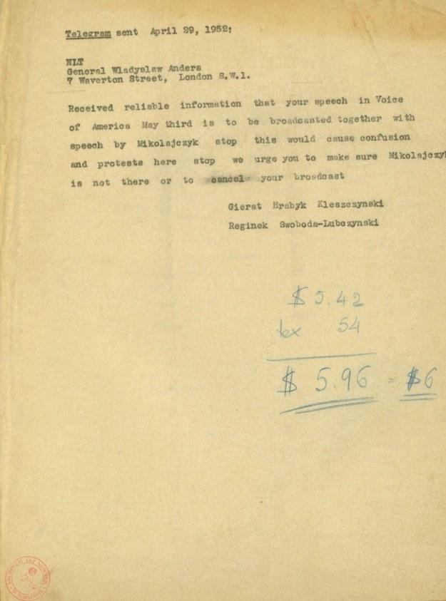 Telegram członków Rady Narodowej do gen. Władysława Andersa, 29 kwietnia 1952 r. /Archiwum Akt Nowych /