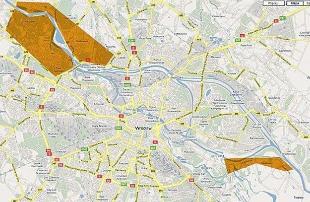 Tereny we Wrocławiu, które najbardziej zagrożone są zalaniem/fot. mapy.google.pl /