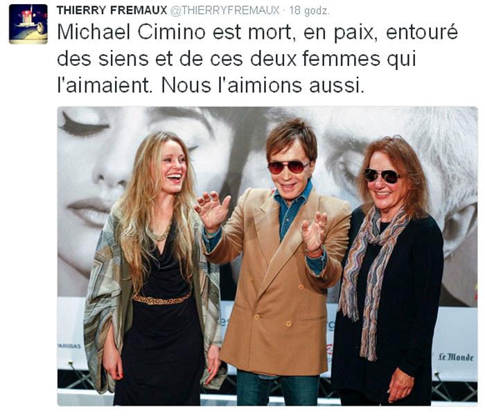Thierry Fremaux podał na swym Twitterze informację o śmierci Michaela Cimino /Twitter