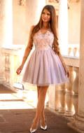 Tiulowa rozkloszowana pudrowo- szara sukienka