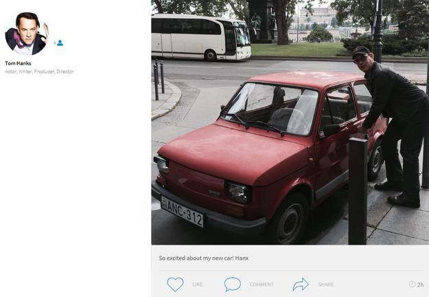 Tom Hanks zamieścił zdjęcie z Budapesztu z podpisem: Jestem podekscytowany moim nowym samochodem /