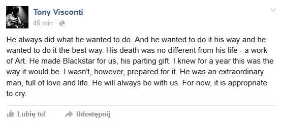 Tony Visconti wspomina Davida Bowiego na Facebooku /&nbsp /
