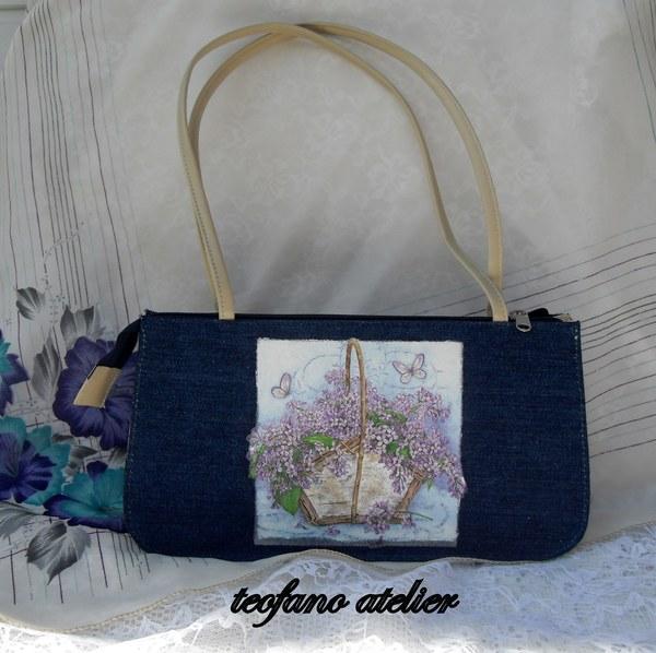 Torebka dżinsowa ozdobiona decoupage. www.teofano.blogspot.com
