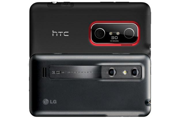 Toshiba wraca z pomysłem podwójnego aparatu w smartfonie. Na zdjęciu modele HTC Evo 3D i LG Optimus 3D /materiały prasowe