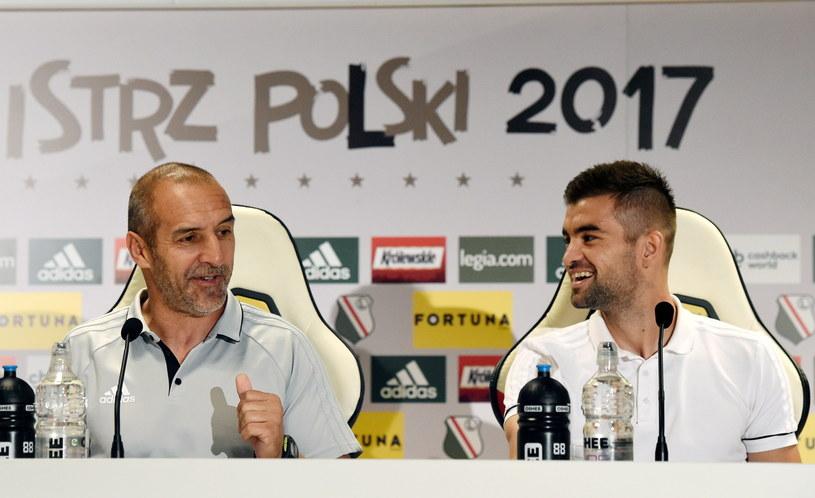 Trener mołdawskiego FC Sheriff Tiraspol Roberto Bordin (L) i kapitan drużyny Mateo Susić /Radek Pietruszka /PAP