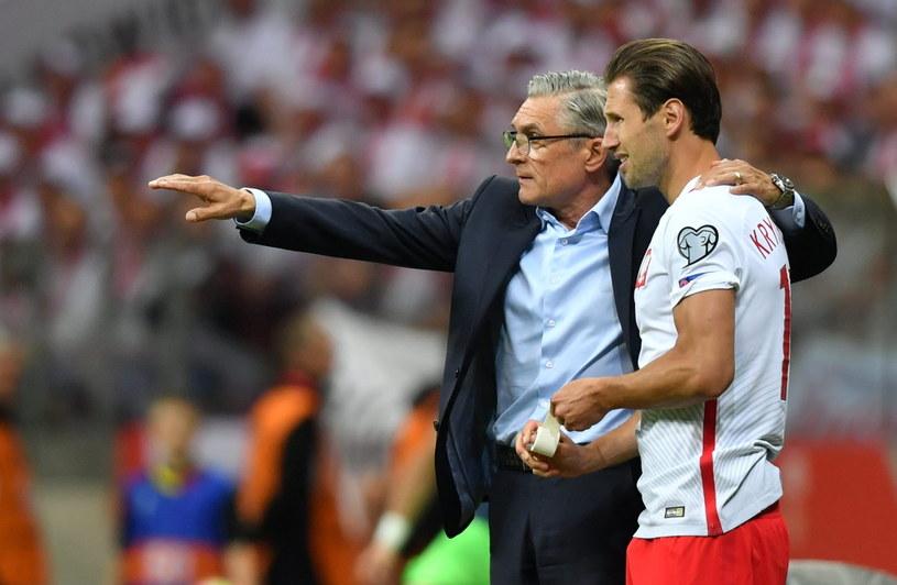 Trener reprezentacji Polski Adam Nawałka i Grzegorz Krychowiak /Bartłomiej Zborowski /PAP