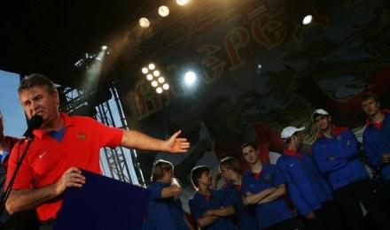 Trener reprezentacji Rosji Guus Hiddink /AFP