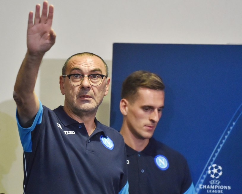 Trener SSC Napoli - Maurizio Sarri. W tle - Arkadiusz Milik /AFP