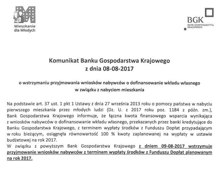 Treść komunikatu BGK /Zrzut ekranu