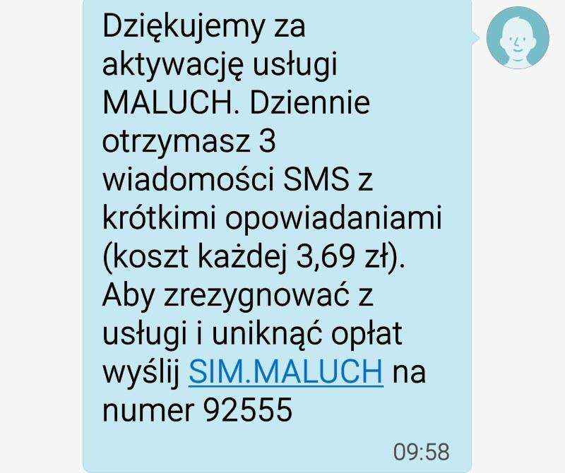 Treść oszukańczego SMS-a /INTERIA.PL