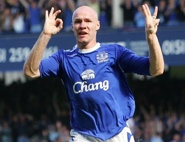 Triumfujący Andrew Johnson. Everton-Liverpool 3:0 /AFP