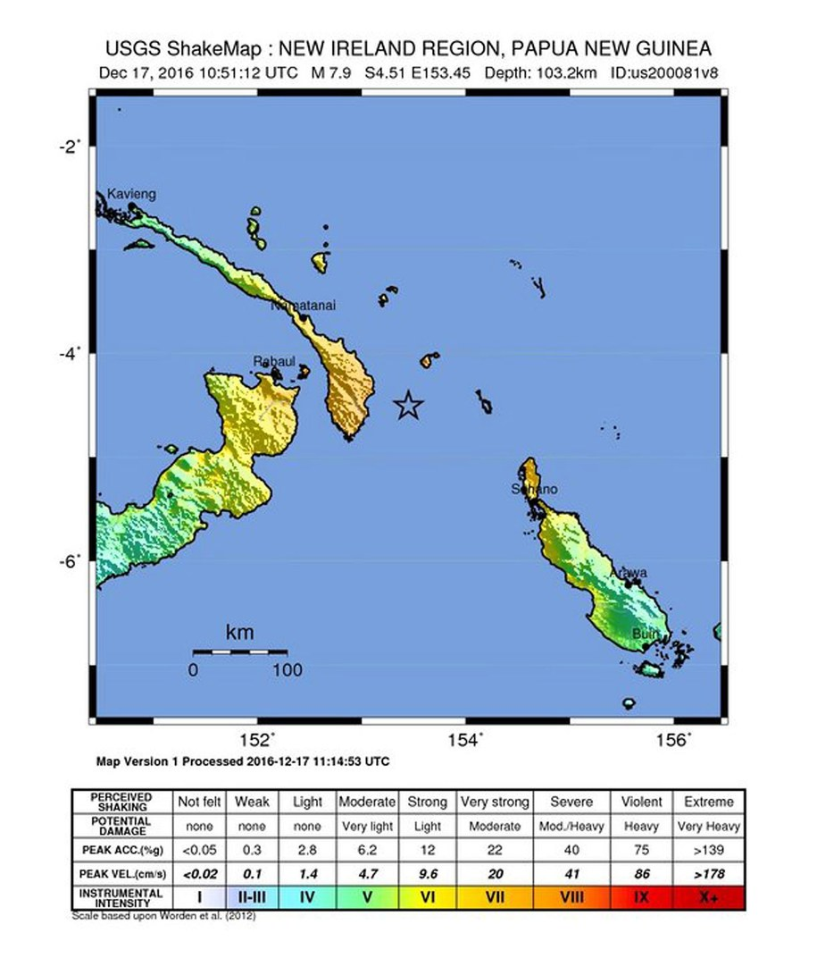 Trzęsienie ziemi o magnitudzie 8,0 u wschodniego wybrzeża Papui-Nowej Gwinei /USGS /PAP/EPA