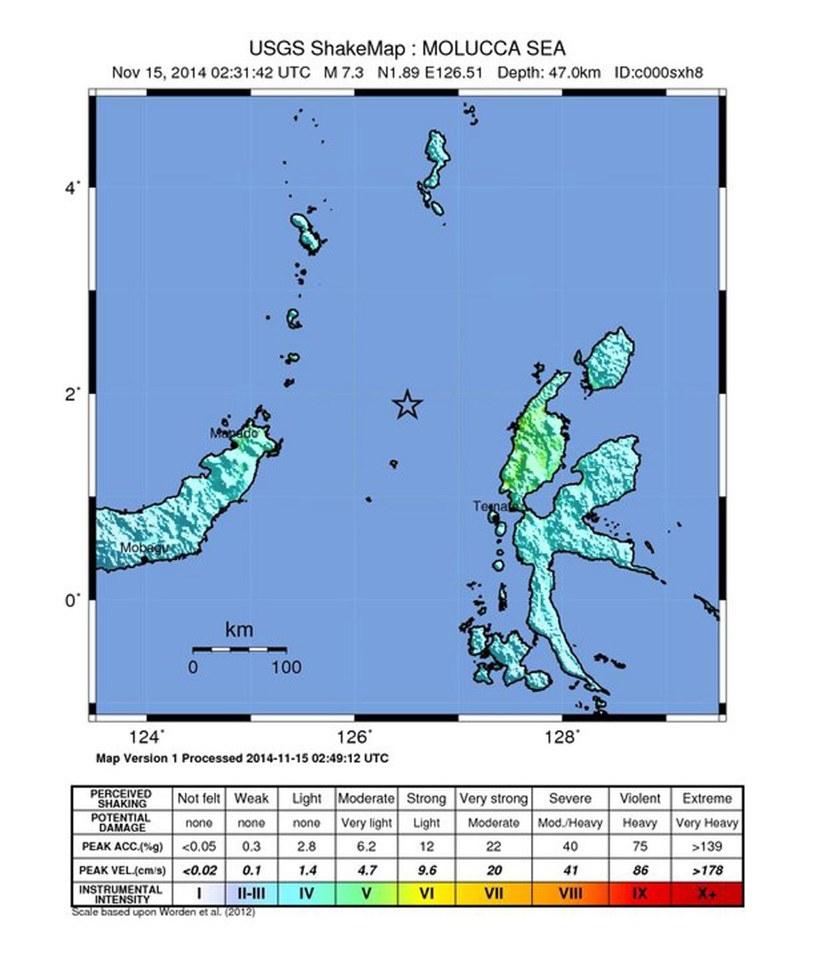 Trzęsienie ziemi o sile 7,3 st. w skali Richtera zarejestrowano w sobotę w rejonie wysp Moluków /PAP/EPA