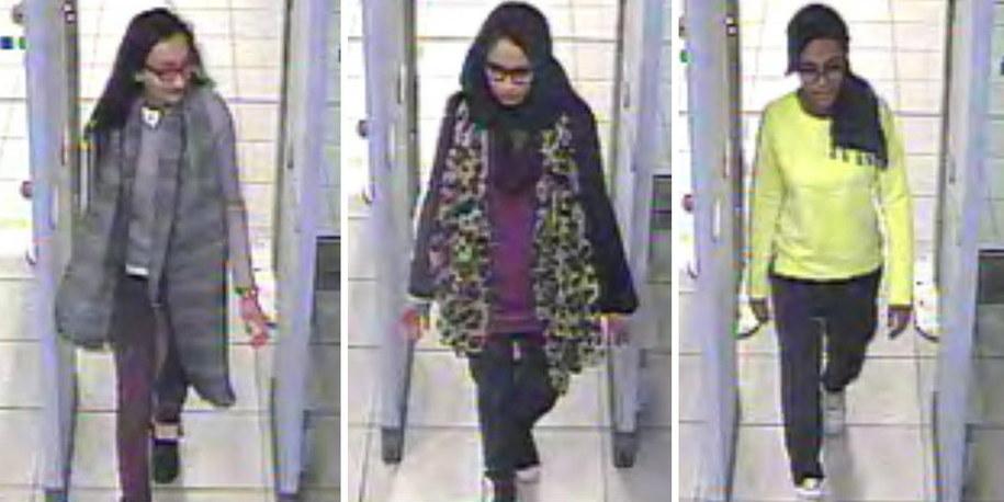 Trzy brytyjskie nastolatki, które w lutym uciekły do Syrii, by dołączyć do terrorystów z Państwa Islamskiego / LONDON METROPLITAN POLICE /PAP/EPA