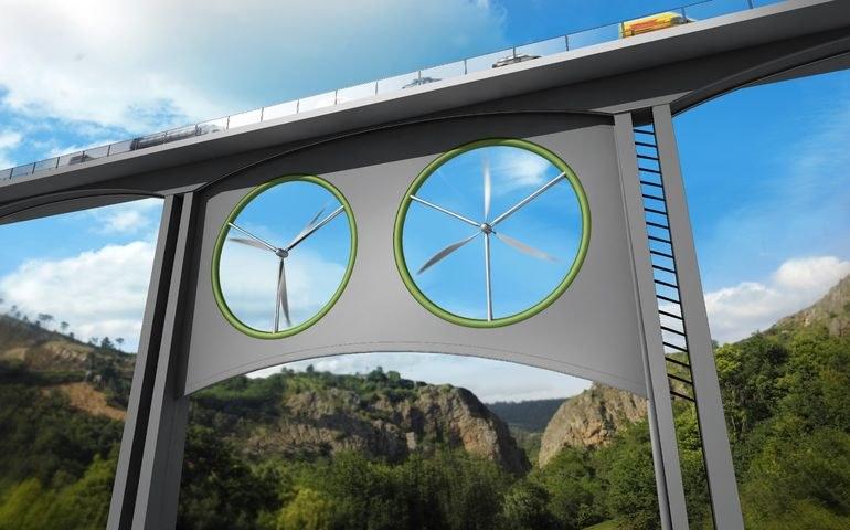 Turbiny wiatrowe między filarami mostów i wiaduktów? To możliwe /materiały prasowe