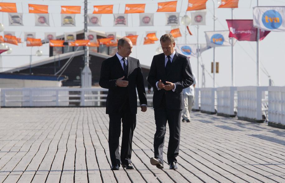 Tusk i Putin na sopockim molo /Paweł Supernak /PAP
