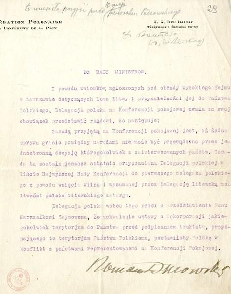 Pismo Romana Dmowskiego do Rady Ministrów; AAN, Akta Władysława Grabskiego, sygn. 11
