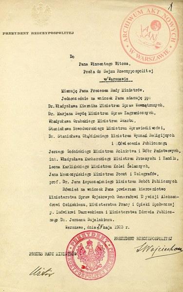 Akt powołania rządu Wincentego Witosa przez prezydenta Stanisława Wojciechowskiego, 28 maja 1923 r.; AAN, Prezydium Rady Ministrów w Warszawie, sygn. 2–7, t. 13, s. 1