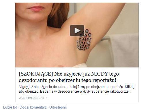Tym razem facebookowi oszuści postawili na... szkodliwy dezodorant. /materiały prasowe