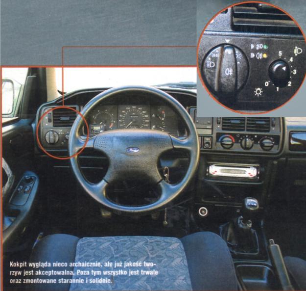 U góry po prawej: pokrętła jak we współczesnych autach. Już wtedy w Scorpio byłym.in. światła parkingowe. /Motor