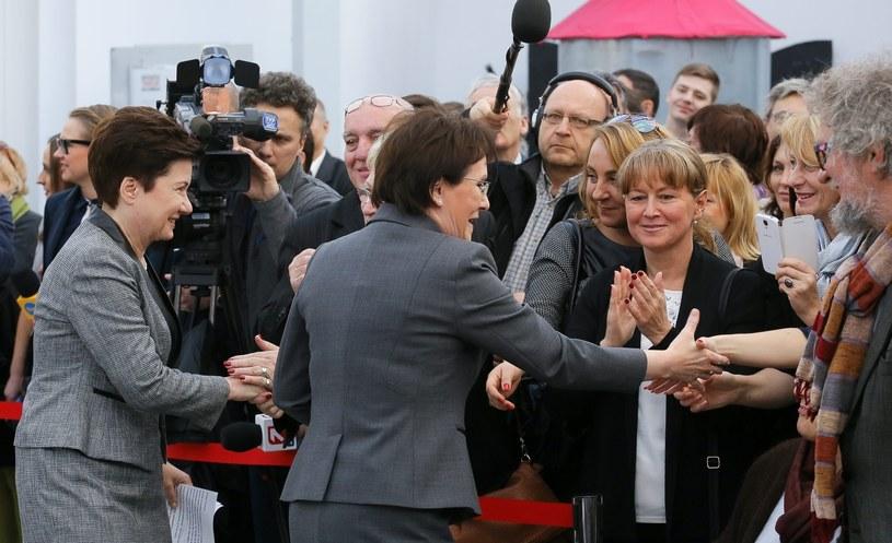 Ubiegająca się o reelekcję - prezydent Warszawy Hanna Gronkiewicz-Waltz i premier Ewa Kopacz podczas konwencji wyborczej prezydent Warszawy /Paweł Supernak /PAP